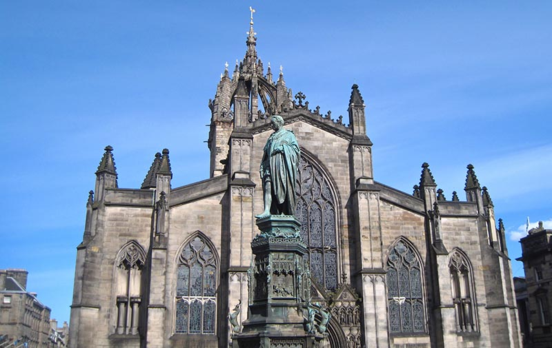 The kirk of St Giles on the Royal Mile, the central point of the city.