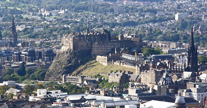 Edinburgh Castle viewed from the top of Arthur's Seat.